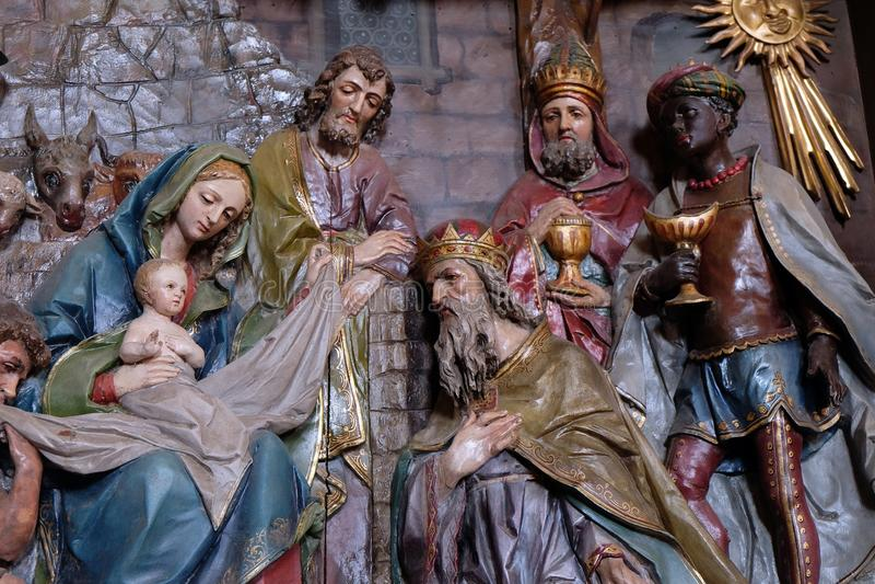 αρχαίο σύνολο σκηνής nativity ειδωλίων στοκ φωτογραφία με δικαίωμα ελεύθερης χρήσης