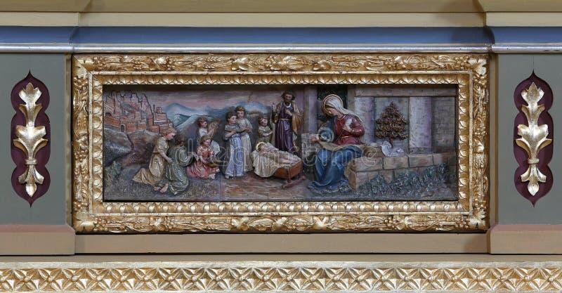 αρχαίο σύνολο σκηνής nativity ειδωλίων στοκ φωτογραφίες με δικαίωμα ελεύθερης χρήσης