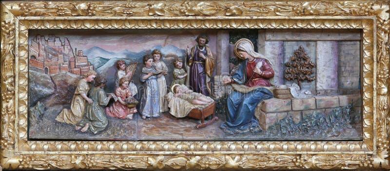 αρχαίο σύνολο σκηνής nativity ειδωλίων στοκ εικόνες με δικαίωμα ελεύθερης χρήσης