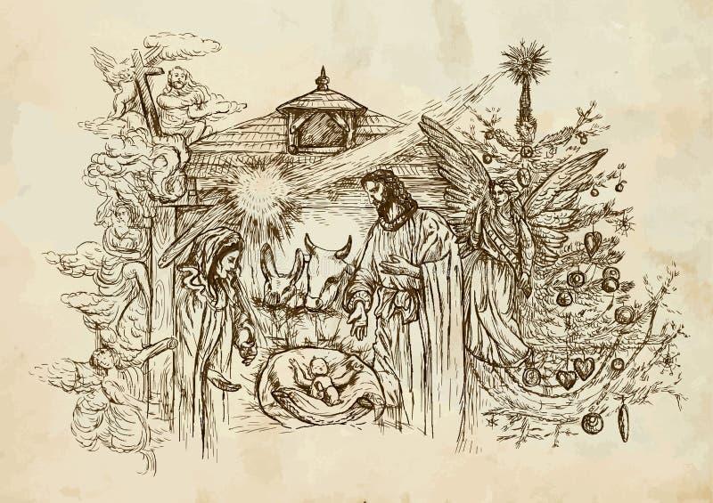 αρχαίο σύνολο σκηνής nativity ειδωλίων απεικόνιση αποθεμάτων