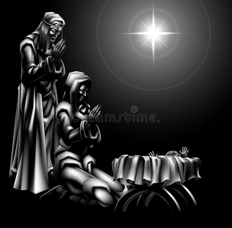 αρχαίο σύνολο σκηνής nativity ειδωλίων διανυσματική απεικόνιση
