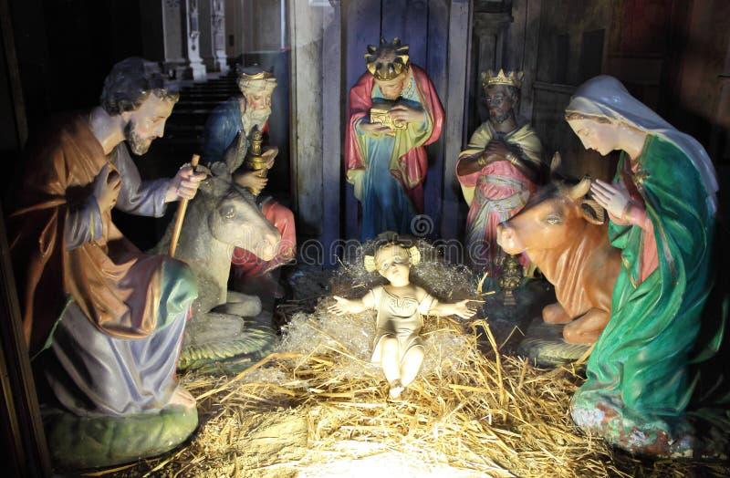 αρχαίο σύνολο σκηνής nativity ειδωλίων στοκ εικόνα με δικαίωμα ελεύθερης χρήσης