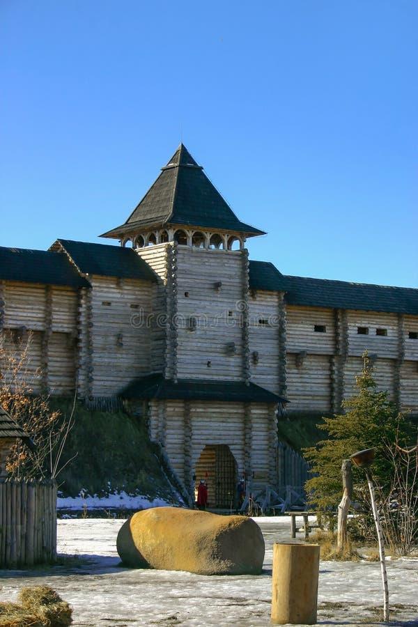 αρχαίο φρούριο ξύλινο στοκ εικόνες