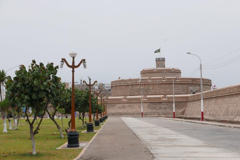 Αρχαίο φρούριο του πραγματικού Felipe σε Callao, Περού στοκ εικόνες