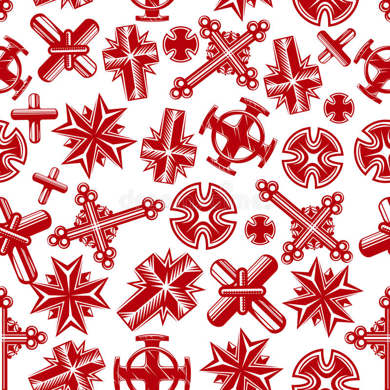 Αρχαίο χριστιανικό crucifixes κόκκινο άνευ ραφής σχέδιο διανυσματική απεικόνιση