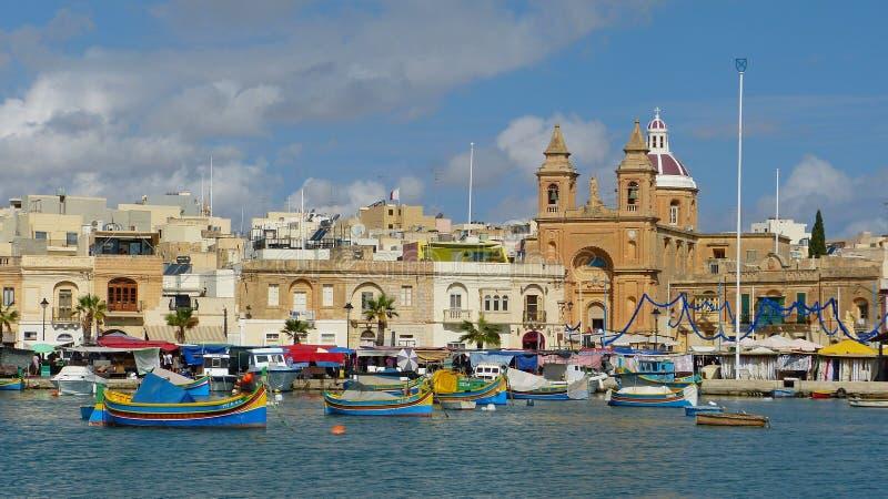 Αρχαίο ψαροχώρι Marsaxlokk στη Μάλτα στοκ φωτογραφία με δικαίωμα ελεύθερης χρήσης