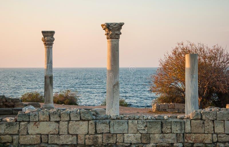 Αρχαίο Chersonese στο ηλιοβασίλεμα στοκ εικόνες