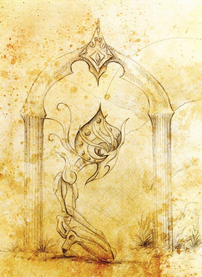 Αρχαίο horus Θεών, αρχικό στρέθιμο της προσοχής σε χαρτί έννοια transience και χρόνου ελεύθερη απεικόνιση δικαιώματος
