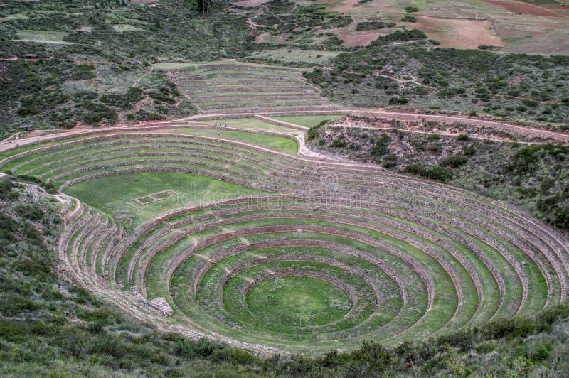 Αρχαιολογική κληρονομιά Moray Περού περιοχών του cusco στοκ εικόνες