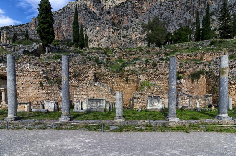 Αρχαιολογική περιοχή των Δελφών στη Φωκίδα, Ελλάδα στοκ εικόνες