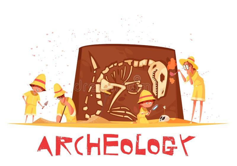 Αρχαιολογικός σκάβει την απεικόνιση σκελετών δεινοσαύρων ελεύθερη απεικόνιση δικαιώματος