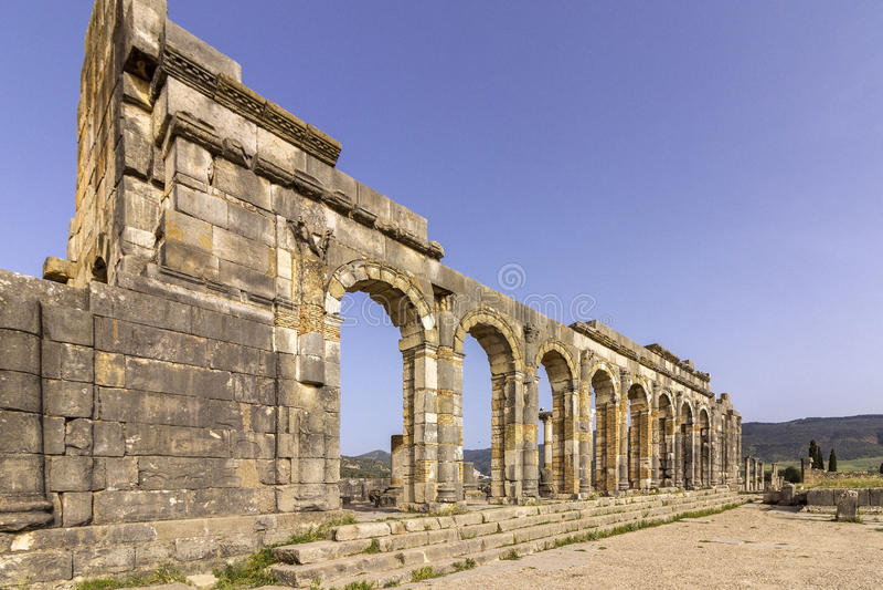 Αρχαιολογική περιοχή Volubilis, αρχαία ρωμαϊκή πόλη αυτοκρατοριών, Μαρόκο στοκ εικόνες με δικαίωμα ελεύθερης χρήσης