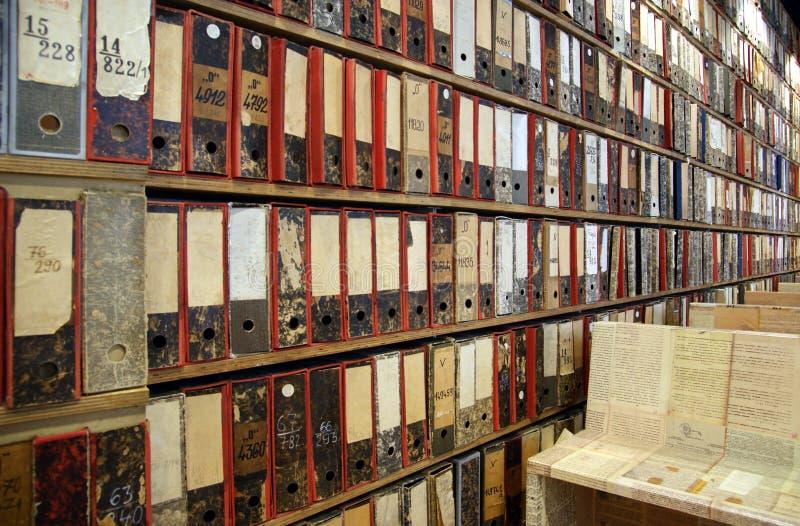 Αρχεία βιβλιοθήκης στοκ εικόνα