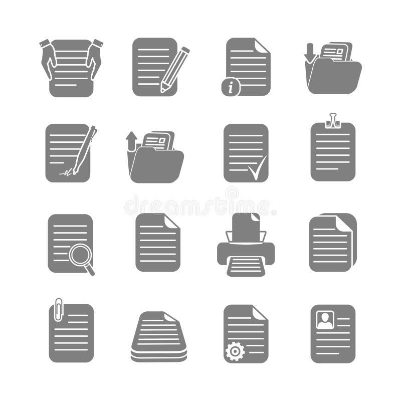 Αρχεία εγγράφων και εικονίδια φακέλλων καθορισμένα ελεύθερη απεικόνιση δικαιώματος