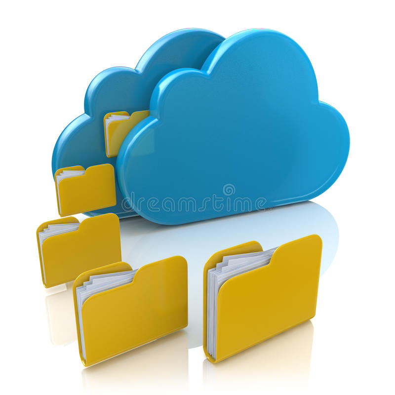 Αρχείο ή συγχρονισμός καταστημάτων στο σύννεφο διανυσματική απεικόνιση