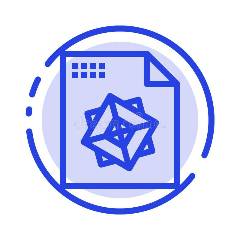Αρχείο, επεξεργασία, τρισδιάστατος, μπλε εικονίδιο γραμμών διαστιγμένων γραμμών σχεδίου απεικόνιση αποθεμάτων