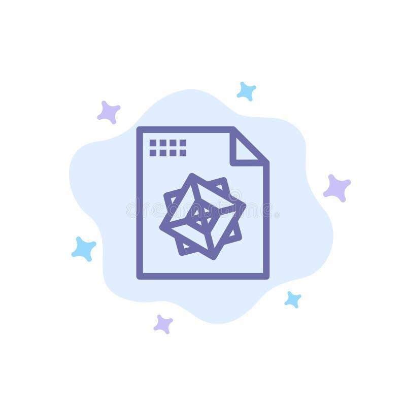 Αρχείο, επεξεργασία, τρισδιάστατος, μπλε εικονίδιο σχεδίου στο αφηρημένο υπόβαθρο σύννεφων ελεύθερη απεικόνιση δικαιώματος