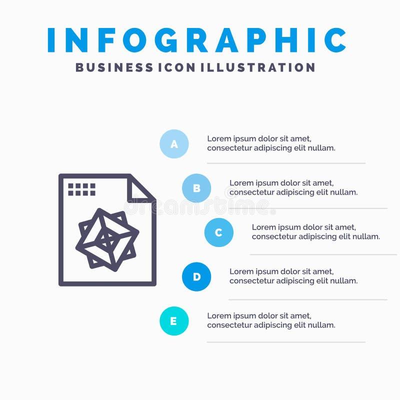Αρχείο, επεξεργασία, τρισδιάστατος, μπλε πρότυπο 5 Infographics σχεδίου βήματα Διανυσματικό πρότυπο εικονιδίων γραμμών απεικόνιση αποθεμάτων