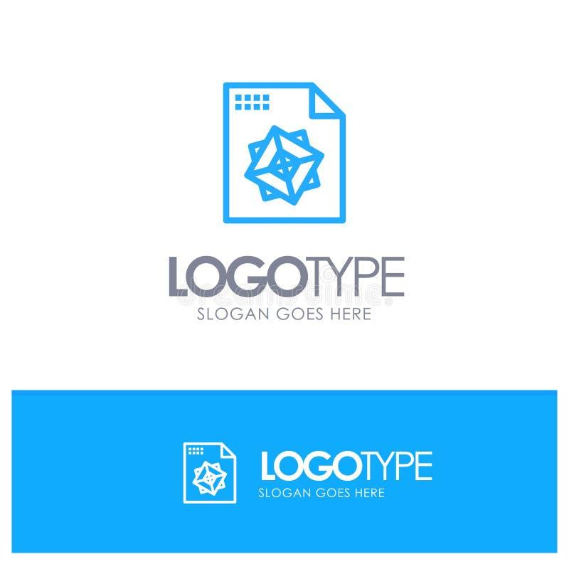 Αρχείο, επεξεργασία, τρισδιάστατος, μπλε ύφος γραμμών λογότυπων σχεδίου διανυσματική απεικόνιση