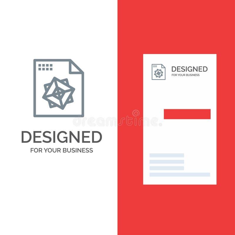Αρχείο, επεξεργασία, τρισδιάστατο, σχέδιο λογότυπων σχεδίου γκρίζο και πρότυπο επαγγελματικών καρτών διανυσματική απεικόνιση