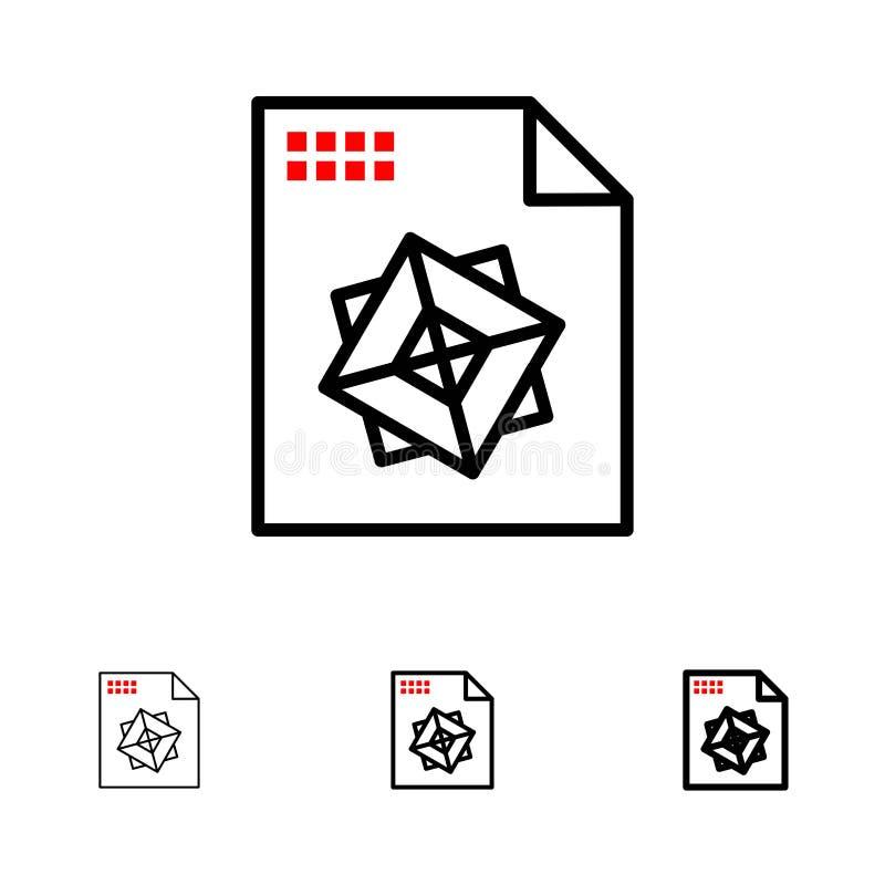 Αρχείο, επεξεργασία, τρισδιάστατο, σύνολο εικονιδίων γραμμών σχεδίου τολμηρό και λεπτό μαύρο απεικόνιση αποθεμάτων
