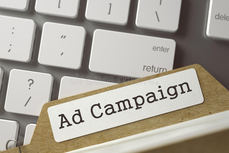 Αρχείο καρτών με τη διαφημιστική εκστρατεία τρισδιάστατος στοκ φωτογραφίες