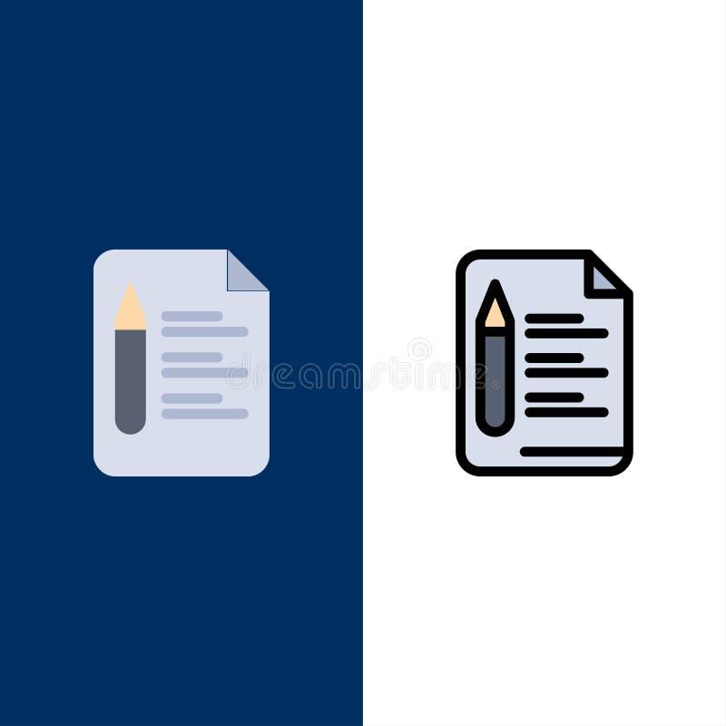 Αρχείο, κείμενο, εκπαίδευση, εικονίδια μολυβιών Επίπεδος και γραμμή γέμισε το καθορισμένο διανυσματικό μπλε υπόβαθρο εικονιδίων ελεύθερη απεικόνιση δικαιώματος
