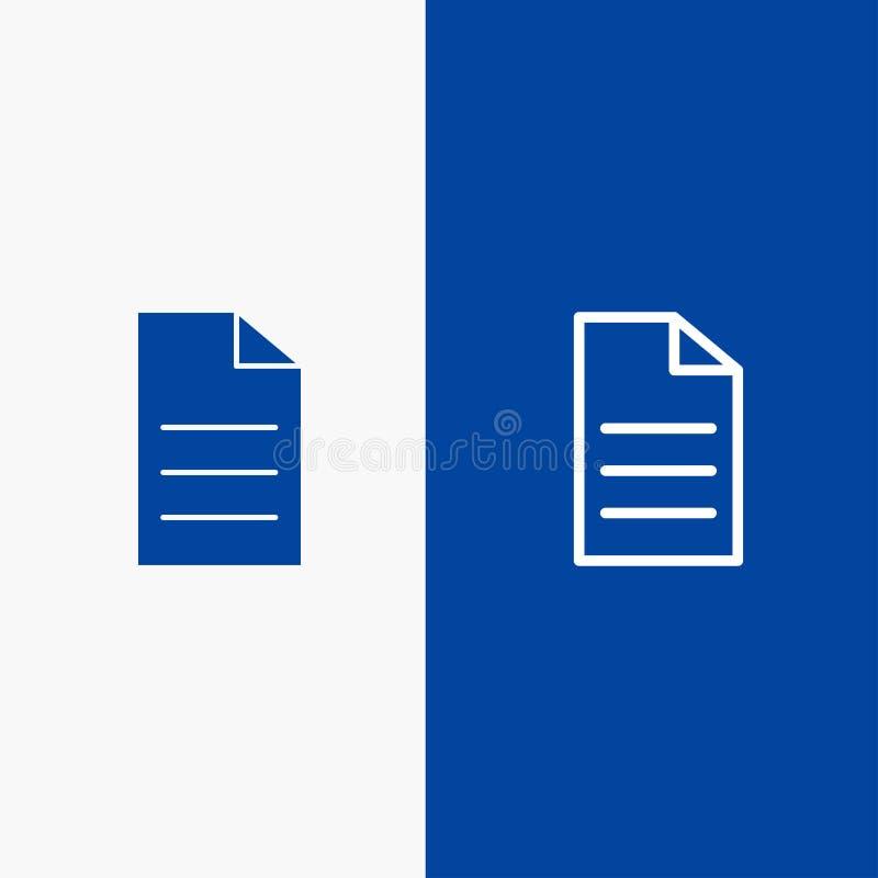 Αρχείο, στοιχεία, χρήστης, γραμμή διεπαφών και στερεά γραμμή εμβλημάτων εικονιδίων Glyph μπλε και στερεό μπλε έμβλημα εικονιδίων  διανυσματική απεικόνιση