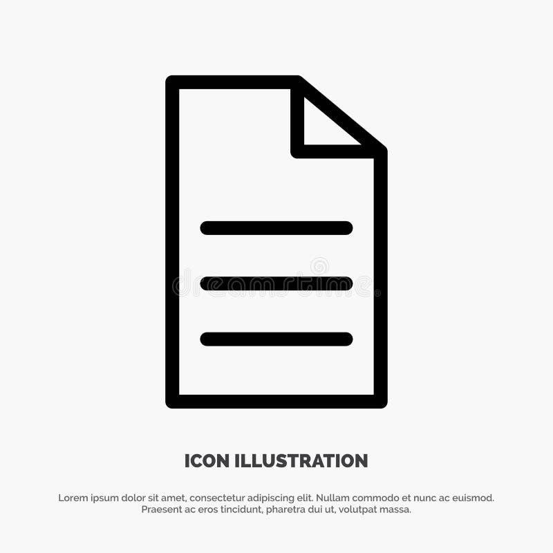 Αρχείο, στοιχεία, χρήστης, διάνυσμα εικονιδίων γραμμών διεπαφών απεικόνιση αποθεμάτων