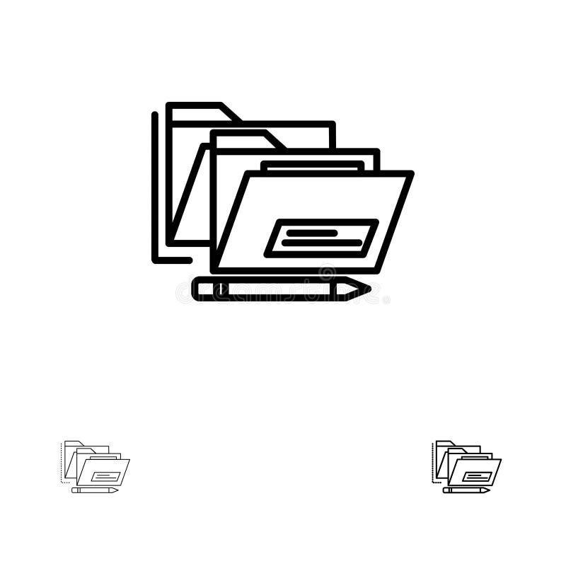 Αρχείο, φάκελλος, ημερομηνία, ασφαλές τολμηρό και λεπτό μαύρο σύνολο εικονιδίων γραμμών απεικόνιση αποθεμάτων