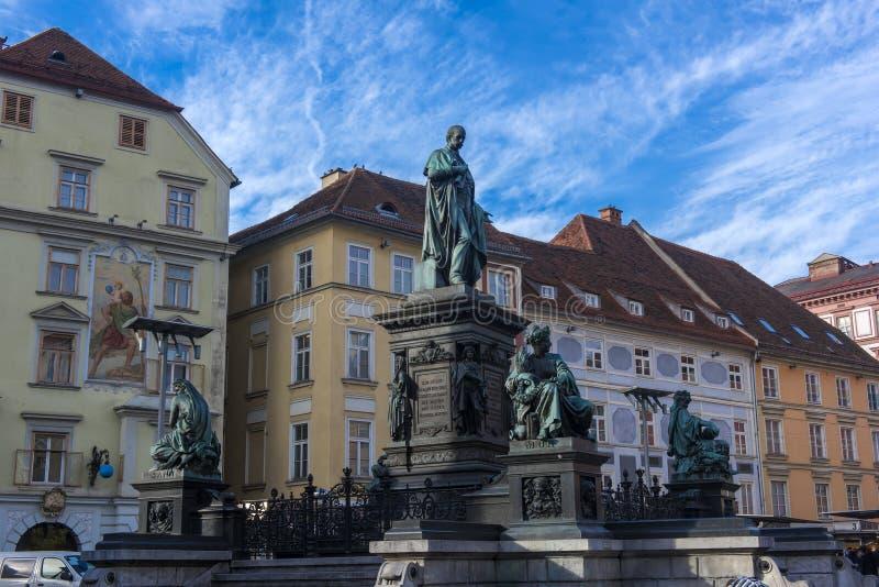 Αρχιδούκας Johann Fountain, αλληγορική αντιπροσώπευση του rive στοκ φωτογραφίες