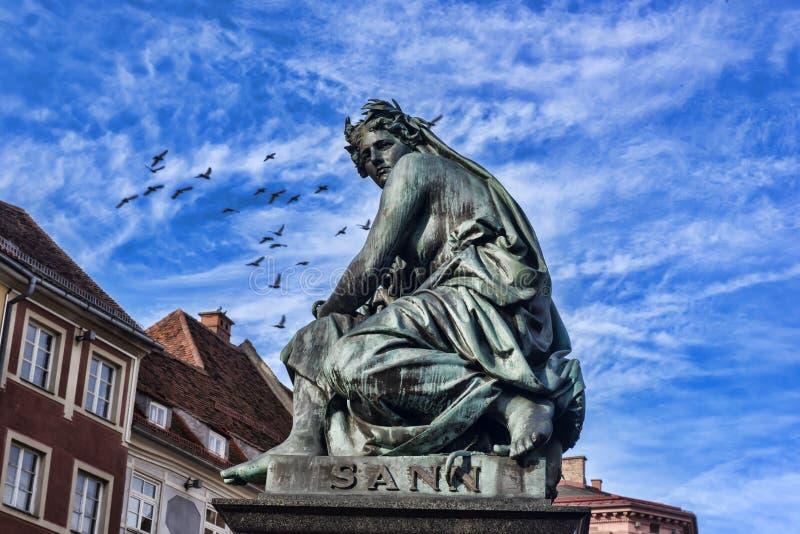 Αρχιδούκας Johann Fountain, αλληγορική αντιπροσώπευση του rive στοκ φωτογραφία