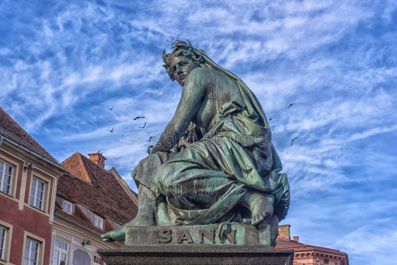 Αρχιδούκας Johann Fountain, αλληγορική αντιπροσώπευση του rive στοκ εικόνες