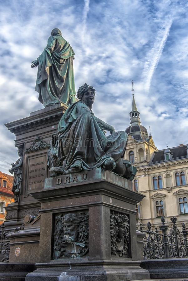 Αρχιδούκας Johann Fountain, αλληγορική αντιπροσώπευση του rive στοκ εικόνα