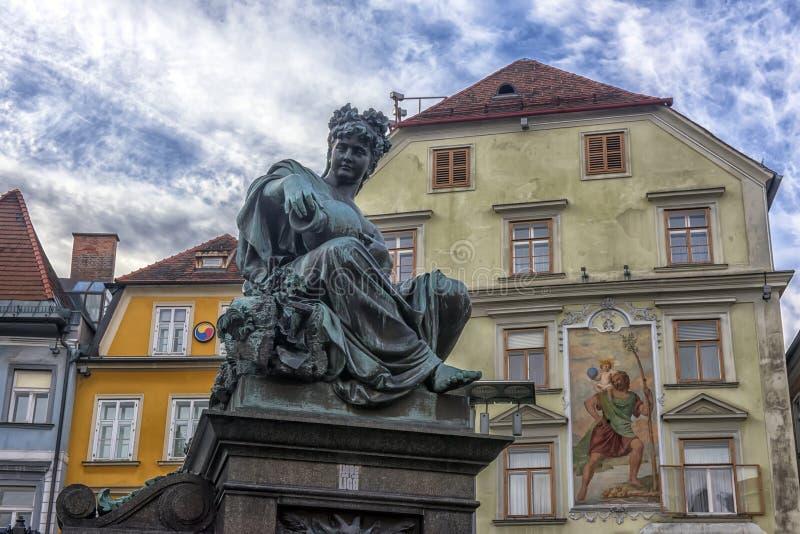 Αρχιδούκας Johann Fountain, αλληγορική αντιπροσώπευση του rive στοκ εικόνα με δικαίωμα ελεύθερης χρήσης