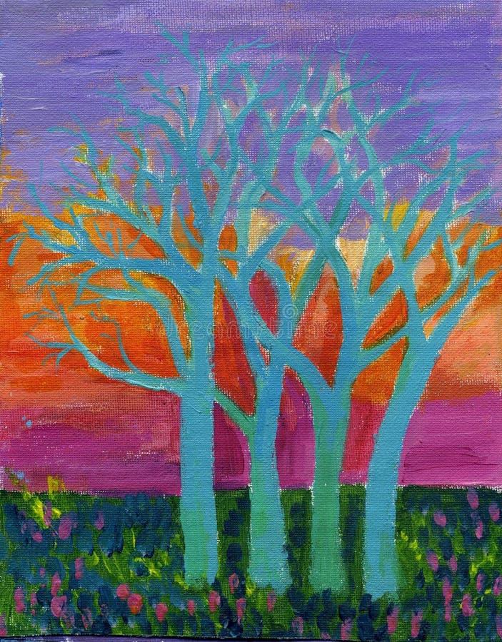 αρχικά δέντρα ουρανού ζωγ&rh ελεύθερη απεικόνιση δικαιώματος