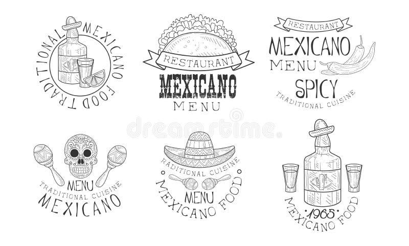 Αρχικά διανυσματικά μεξικάνικα λογότυπα για τα εστιατόρια Μονοχρωματικά εμβλήματα με τα παραδοσιακό τρόφιμα και το ποτό, τα marac ελεύθερη απεικόνιση δικαιώματος