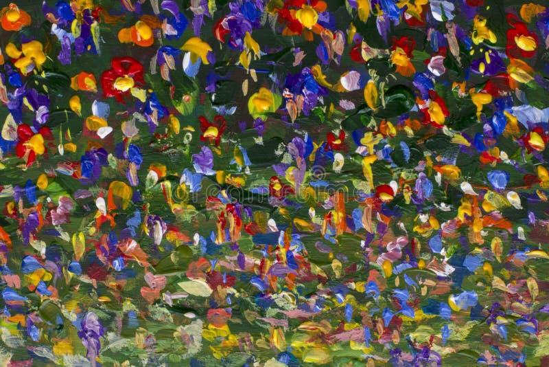 Αρχικά χειροποίητα αφηρημένα φωτεινά λουλούδια ελαιογραφίας που γίνονται το μαχαίρι παλετών απεικόνιση αποθεμάτων
