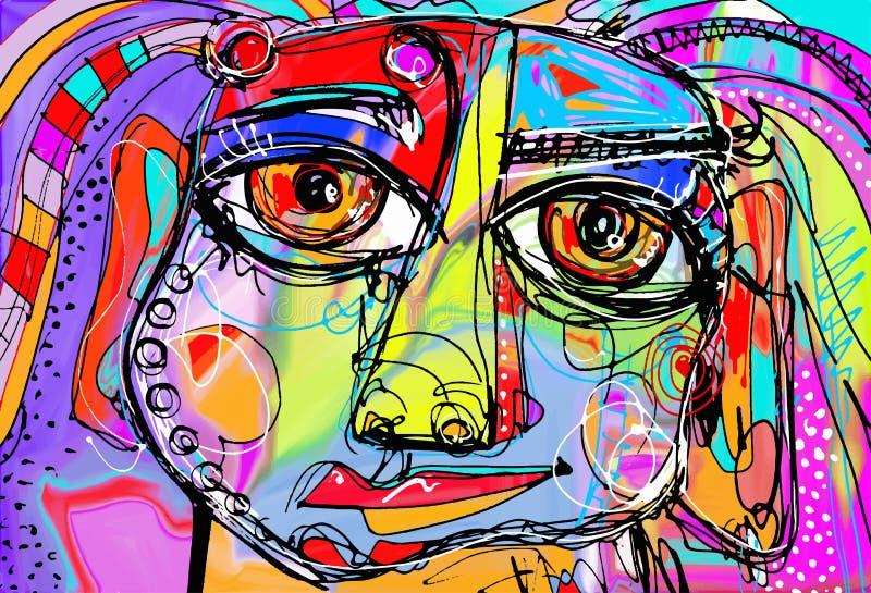Αρχική αφηρημένη ψηφιακή ζωγραφική του ανθρώπινου προσώπου απεικόνιση αποθεμάτων