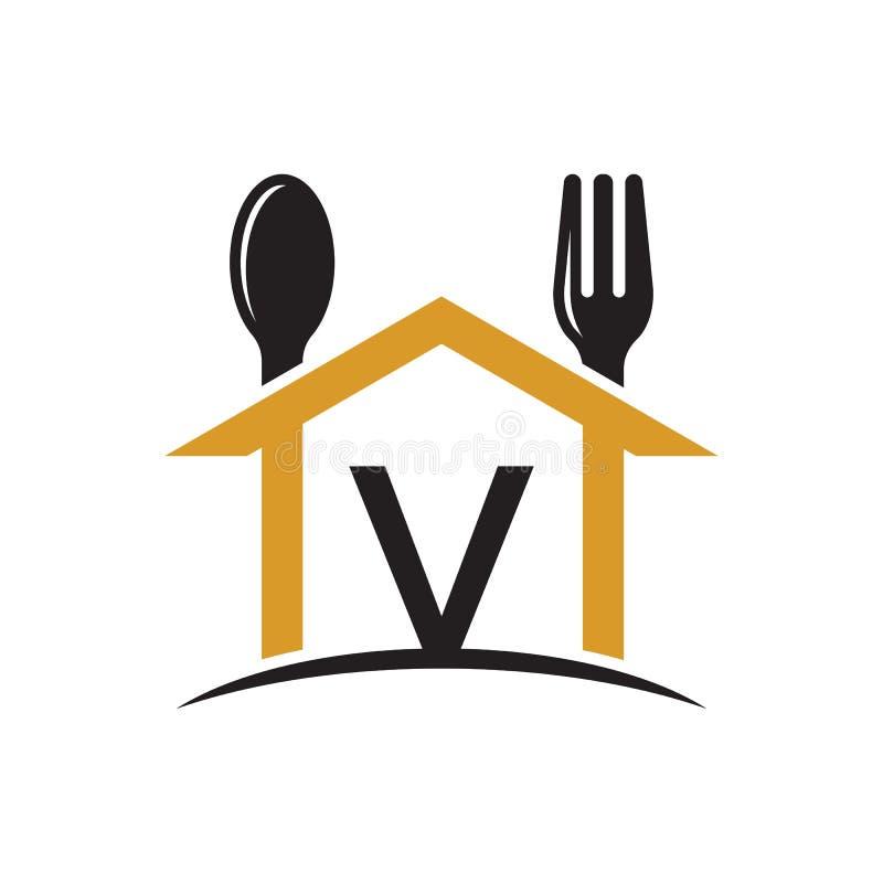 Αρχική επιστολή Β εστιατόριο λογότυπων κουταλιών σπιτιών frok ελεύθερη απεικόνιση δικαιώματος