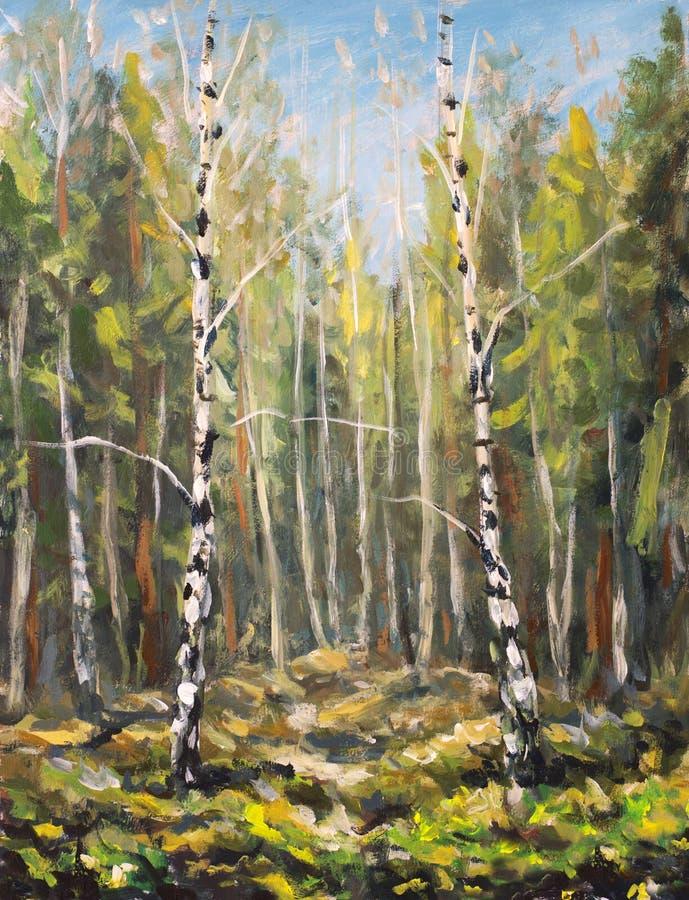 Αρχική ελαιογραφία στον καμβά - ζωηρόχρωμο ηλιόλουστο ελατήριο που χρωματίζει - μοντέρνα τέχνη impressionism διανυσματική απεικόνιση