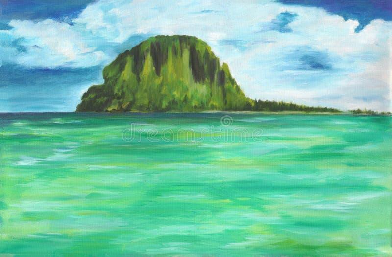 Αρχική ελαιογραφία της θάλασσας και του νησιού στον καμβά Ζωηρόχρωμος ωκεανός με το νεφελώδη ουρανό διανυσματική απεικόνιση