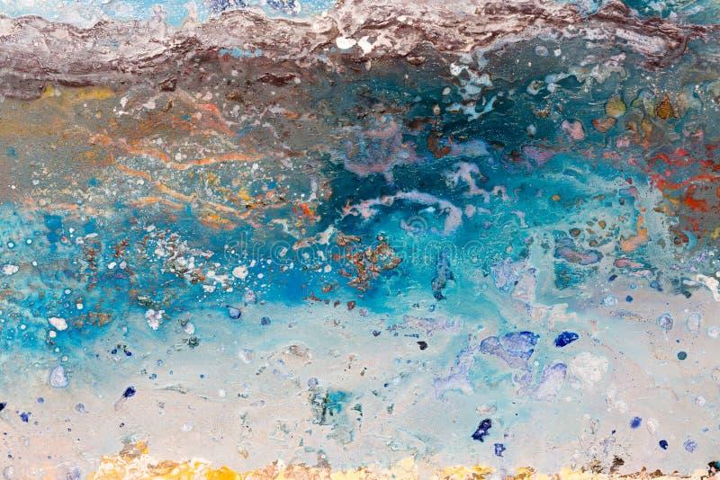 Αρχική ζωγραφική, έργο τέχνης, πετρέλαιο στον καμβά, κύματα θάλασσας και άσπρο β στοκ εικόνα