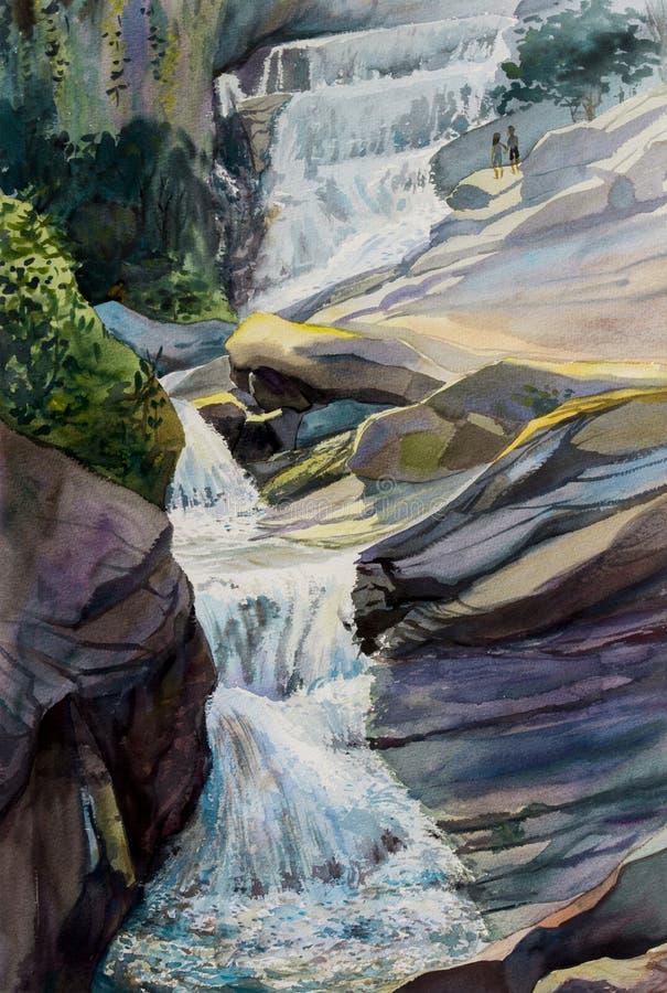 Αρχική ζωγραφική τοπίων Watercolor ζωηρόχρωμη του καταρράκτη ελεύθερη απεικόνιση δικαιώματος