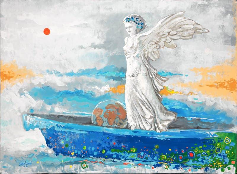 Αρχική ζωγραφική, όμορφη φτερωτή γυναίκα διανυσματική απεικόνιση