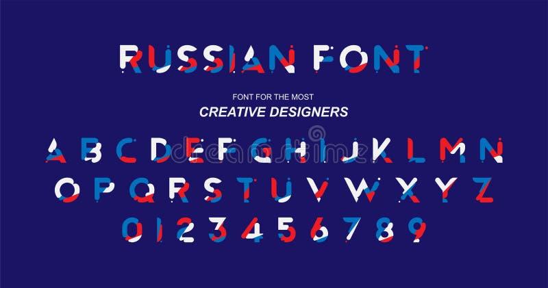 Αρχική ΡΩΣΙΚΗ πηγή στο μπλε, κόκκινο και άσπρο χρώμα για το δημιουργικό πρότυπο σχεδίου Επίπεδη απεικόνιση eps10 απεικόνιση αποθεμάτων