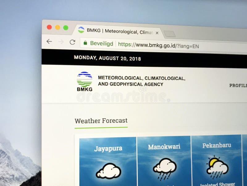 Αρχική σελίδα της ινδονησιακής αντιπροσωπείας για τη μετεωρολογία, την κλιματολογία και τη γεωφυσική BMKG στοκ φωτογραφίες
