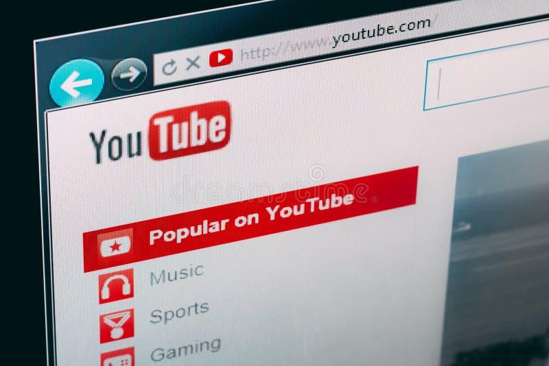 Αρχική σελίδα YouTube στοκ εικόνες