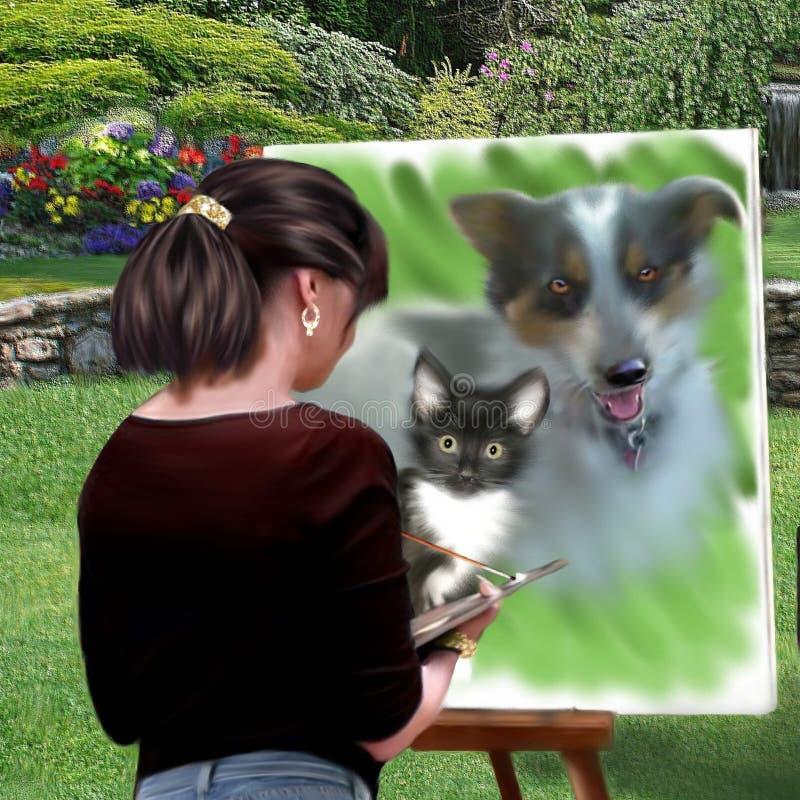 Αρχική ψηφιακή ζωγραφική ενός ζωγράφου που χρωματίζει μια ζωγραφική στοκ φωτογραφίες