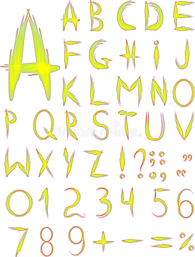 αρχικός κίτρινος τύπων χαρακτήρων απεικόνιση αποθεμάτων